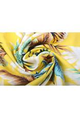 100% Viskose Tropischen Palmblatter Gelb