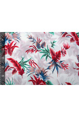 100% Viscose Tropische Palmbladeren Wit