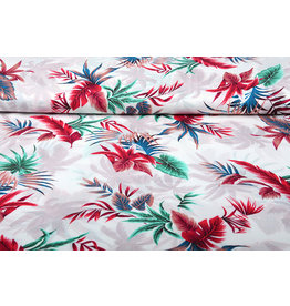 100% Viscose Tropical Palmleaves White