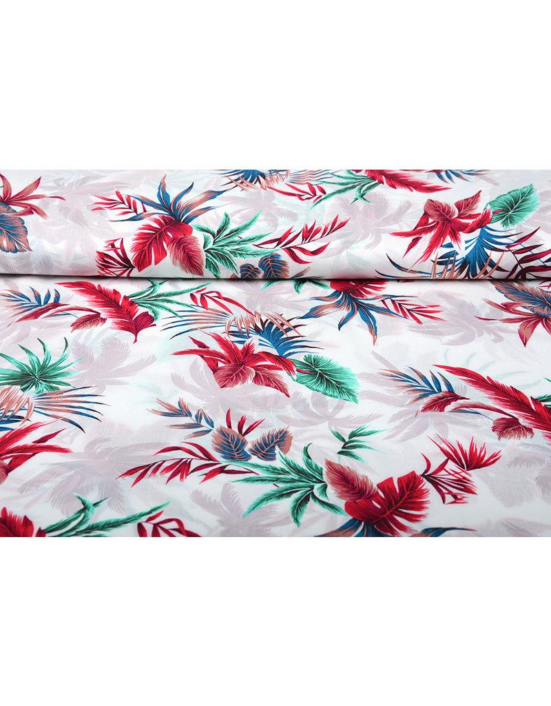 100% Viskose Tropischen Palmblatter Weiß