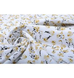 100% Washed Cotton Trandafiri Flowers Ocher Yellow