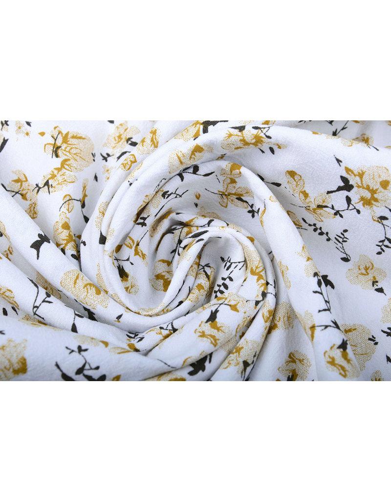 100% Gewassen Katoen Trandafiri Bloemen Oker Geel