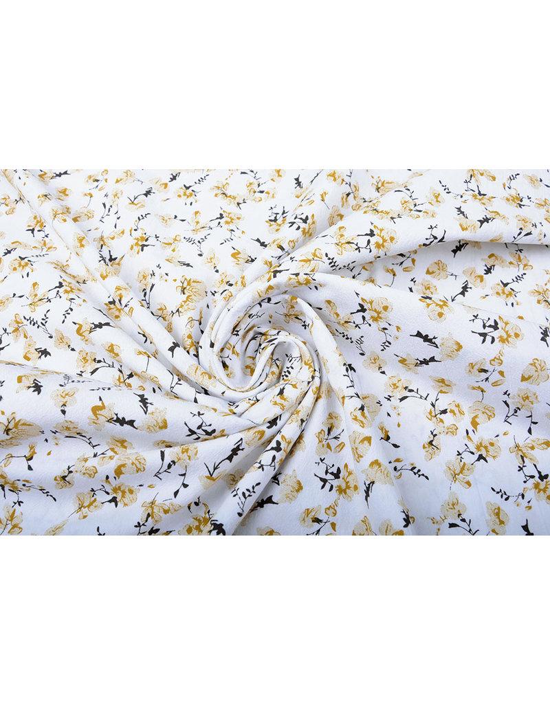 100% Gewaschene Baumwolle Trandafiri Blumen Ocker Gelb