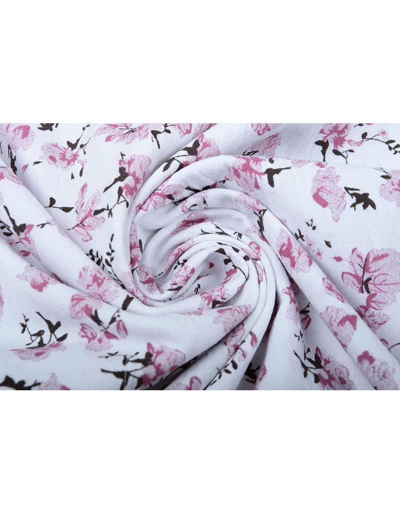 100% Gewaschene Baumwolle Trandafiri Blumen Altrosa