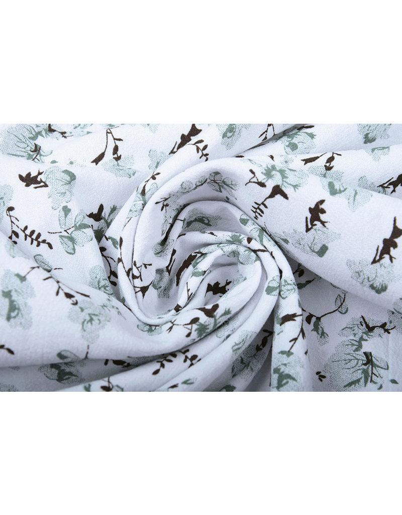 100% Gewaschene Baumwolle Trandafiri Blumen Altgrün