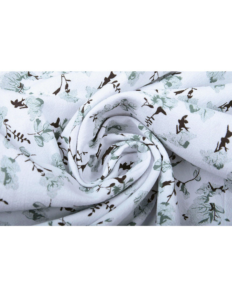 100% Washed Cotton Trandafiri Flowers Old Green