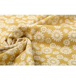 100% Washed Cotton Bulatan Mandala Ocher Yellow
