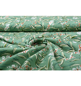 100% Viscose Snow Berries Old Green