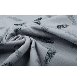 Oeko-Tex®  Double Gauze Fabric Dando Feather Medium Gray