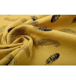 Oeko-Tex®  Double Gauze Fabric Dando Feather Ocher Yellow