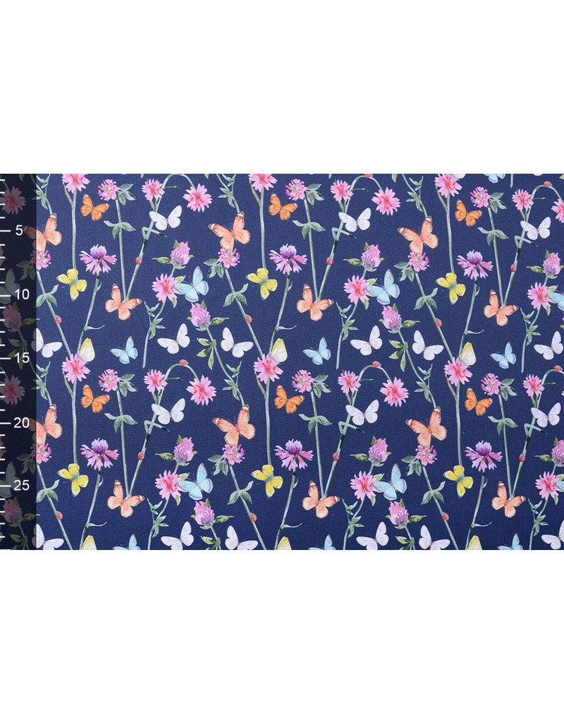 Stenzo 100% Digitaal Katoen Bloemen Vlinders Marine Blauw