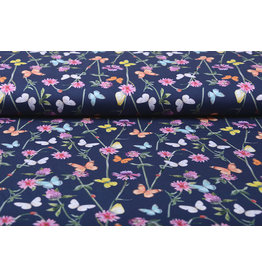 Stenzo 100% Digital Cotton  Flowers Butterfly Navy Blue