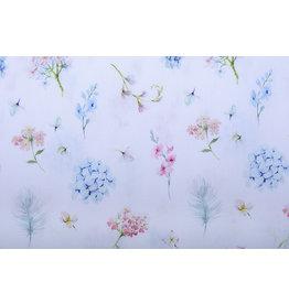 Stenzo 100% Digital Baumwolle Blumen und Federn Pastell Weiß