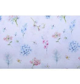 Stenzo 100% Digital Cotton  Flowers Butterfly and Feather Pastel White
