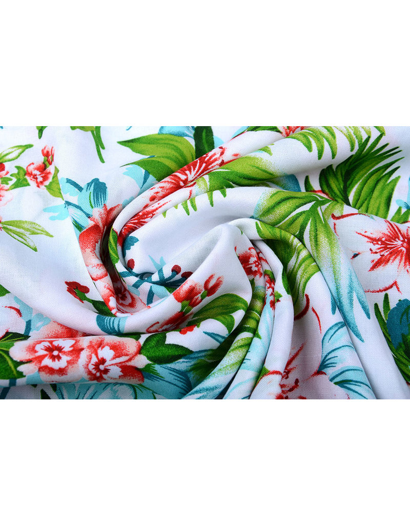 100% Viscose Tropicana White
