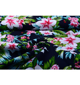100% Viscose Tropicana Dark Navy Blue