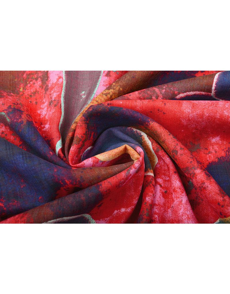 Baumwolle Viskose Djamboe Rot