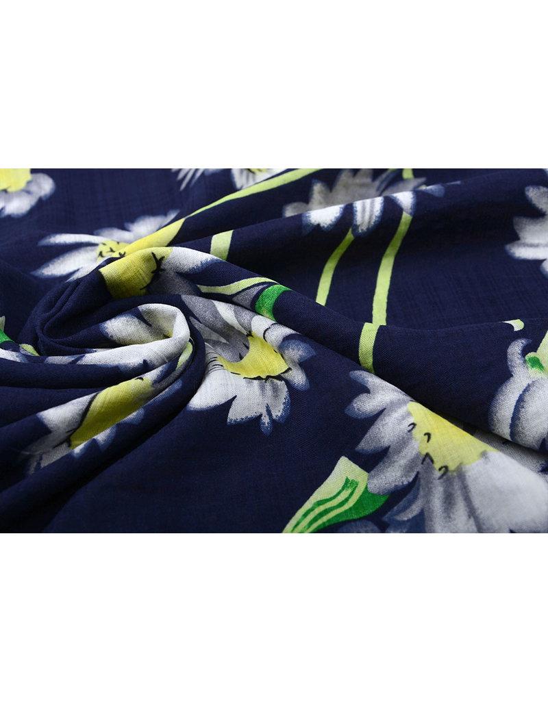 Baumwolle Viskose Cataleya  Marine Blau