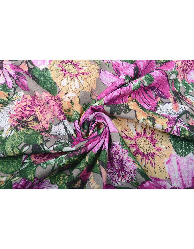 Baumwolle Viskose Gaia Blumen Lila