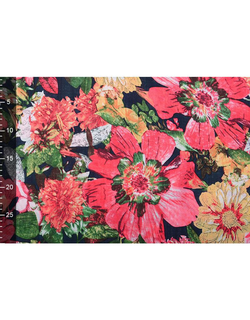 Baumwolle Viskose Gaia Blumen Rot
