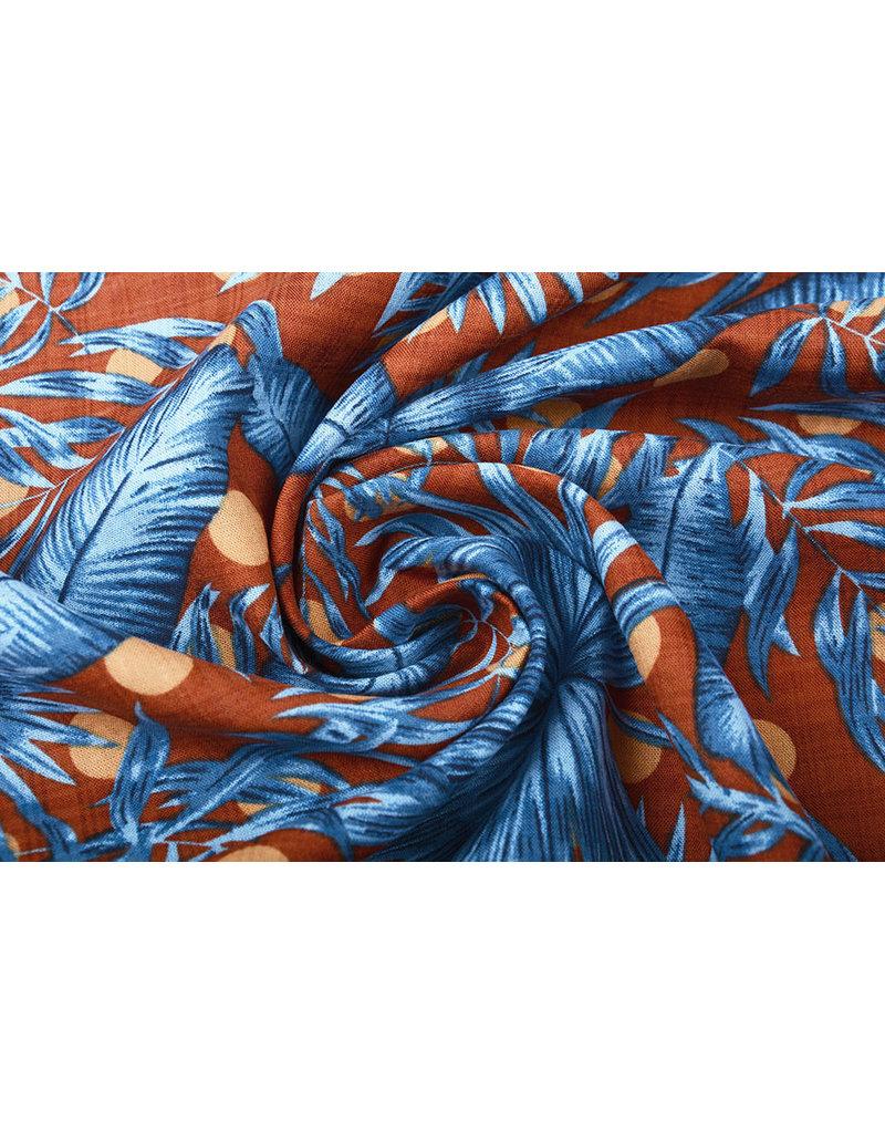 Baumwolle Viskose Corypha Palmblatt Blau Braun
