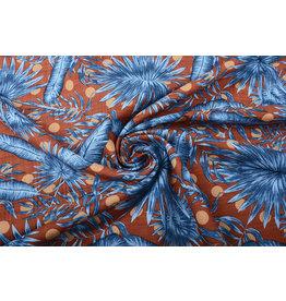 Katoen Viscose Corypha Palmblad Blauw Bruin