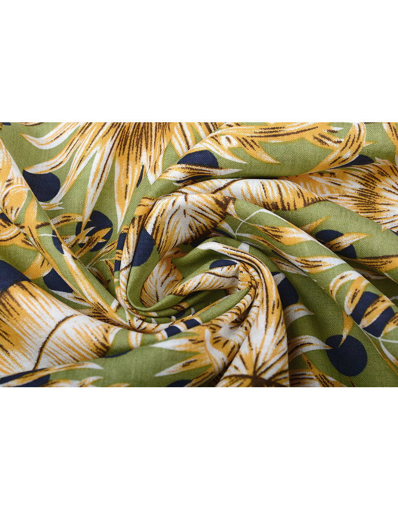 Katoen Viscose Corypha Palmblad Geel Groen