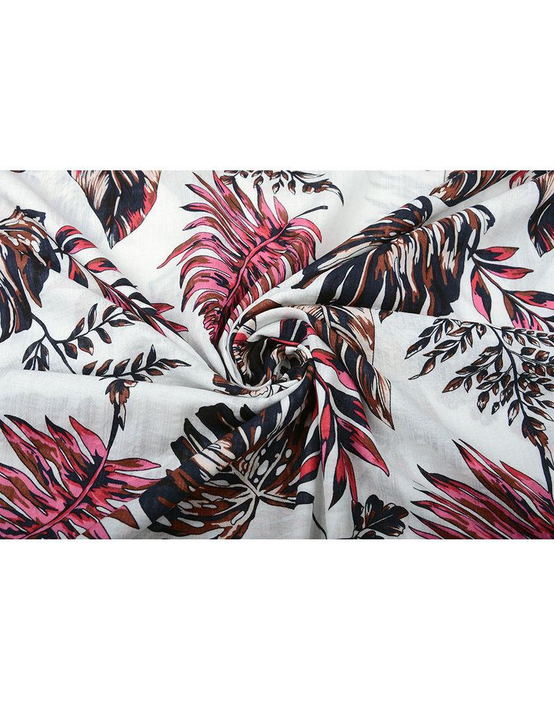 Baumwolle Viskose Subang Palmblatt Weiß