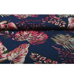 Baumwolle Viskose Subang Palmblatt Dunkel Blau