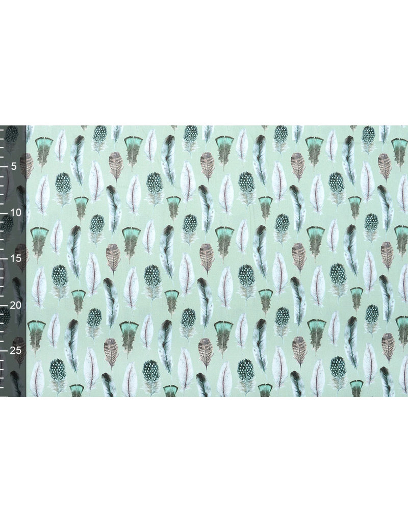 Stenzo 100% Digital Baumwolle Gashina Federn Grün