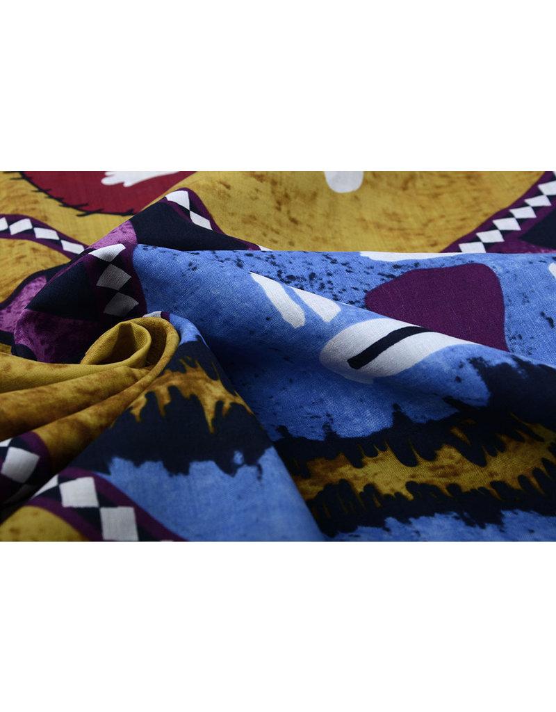 Batik Print  Oker Blauw Paars