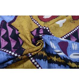 Batik Motiv Ocker Blau Lila
