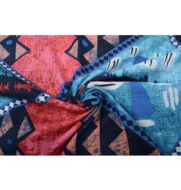 Batik Print Red Blue