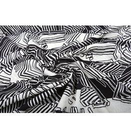 Katoen Viscose Zebra Zwart Wit