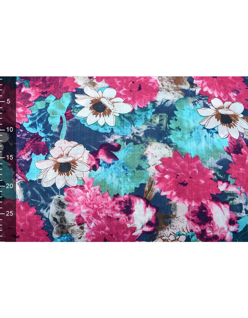 Baumwolle Viskose Seerose Rosa Blau