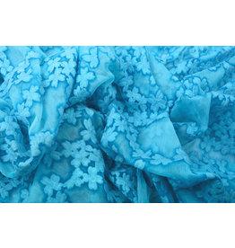 Geborduurd Chiffon Aurora Blauw