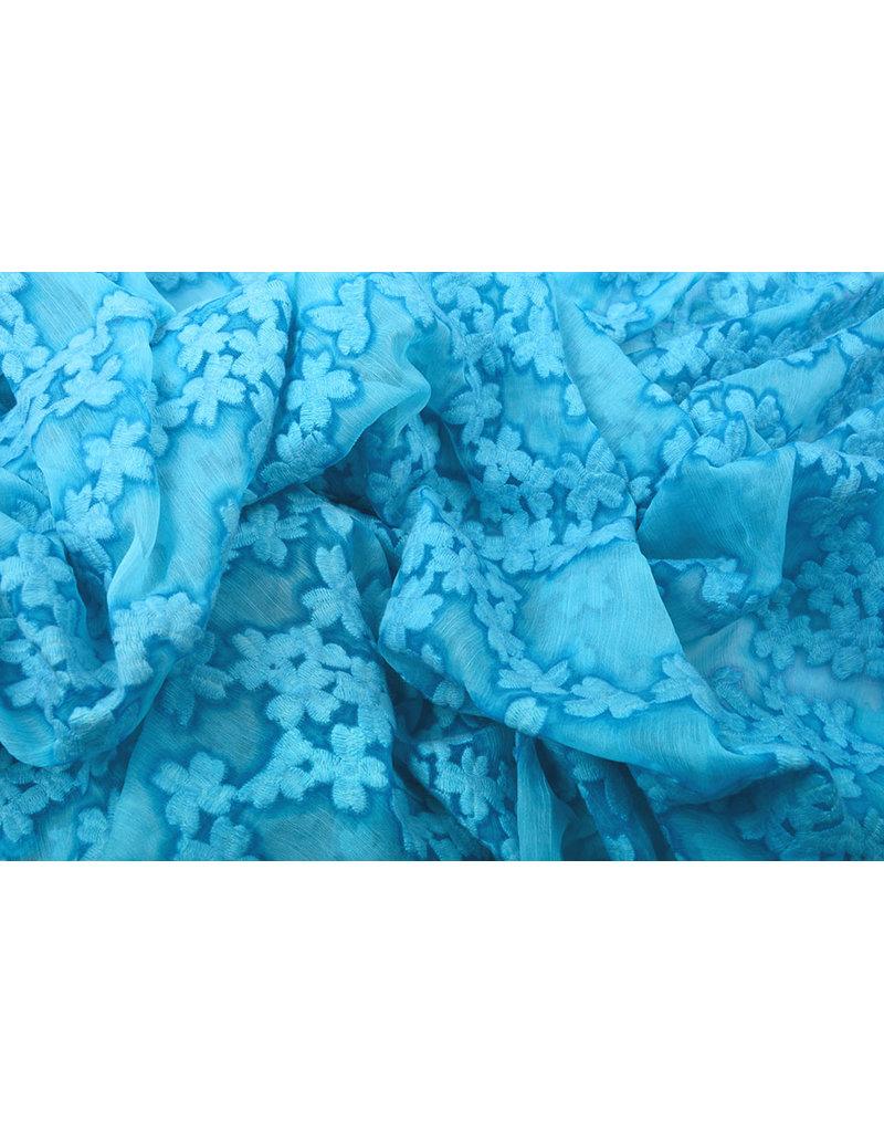 Bestickt Chiffon Aurora Blau