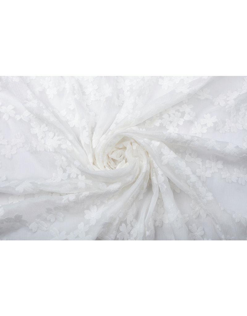 Bestickt Chiffon Aurora Weiß