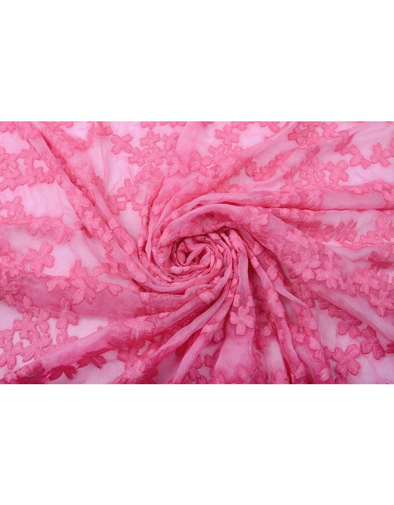 Geborduurd Chiffon Aurora Roze