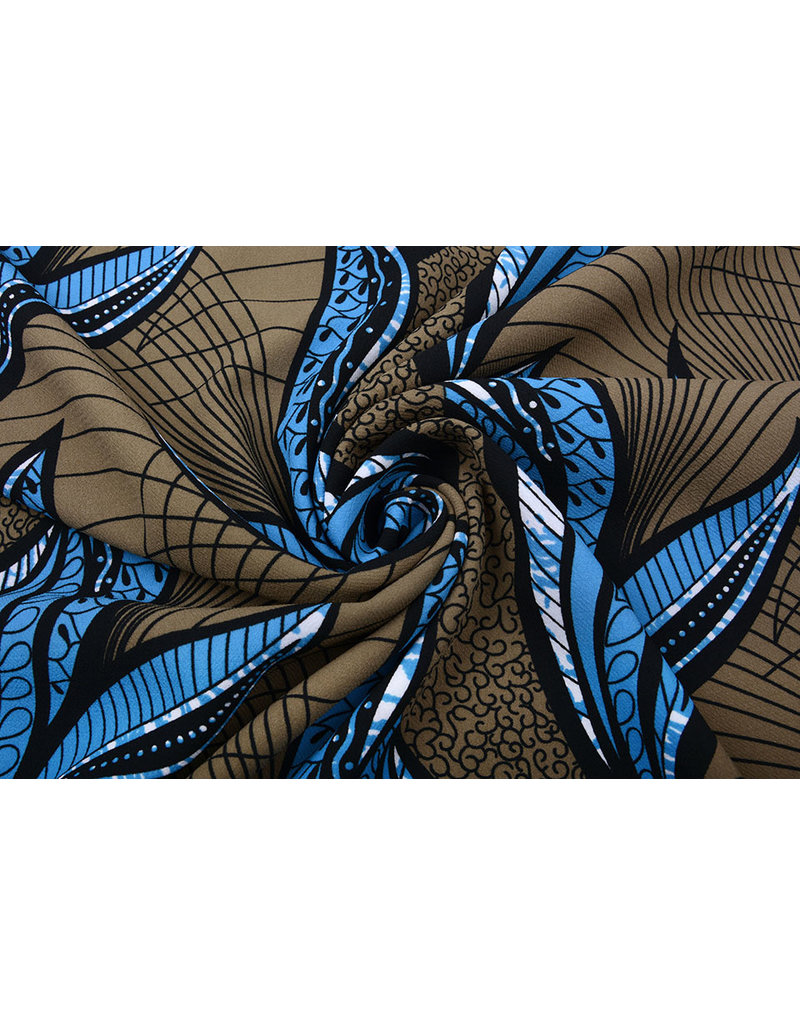 Digital Scouba Crepe Braun Blau
