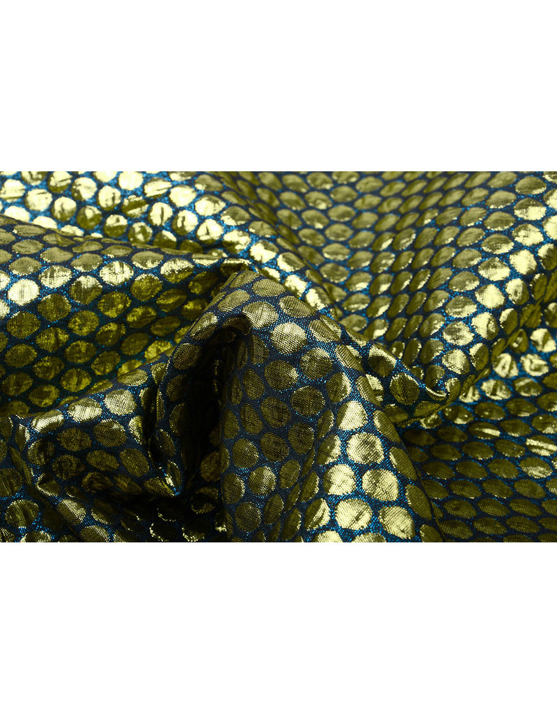 Brokat Großer Dot Meergrün Gold
