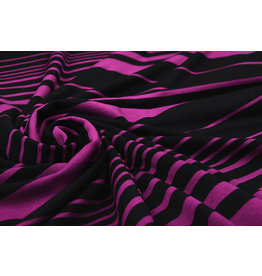 Viscose Jersey Variable  Stripes Cyclaam Black