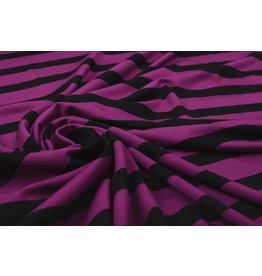 Viscose Jersey Wide Stripes Cyclaam Black