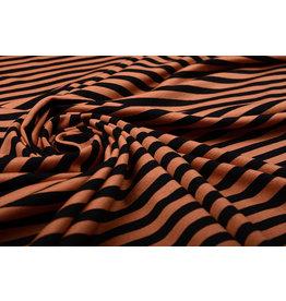 Viskose Jersey Streifen Orange Schwarz
