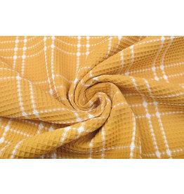 Oeko-Tex®  Waffle Pique Fabric Checks Ocher