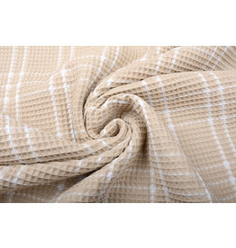 Oeko-Tex®  Waffle Pique Fabric Checks Light Sand
