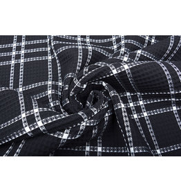 Oeko-Tex®  Waffle Pique Fabric Checks Black