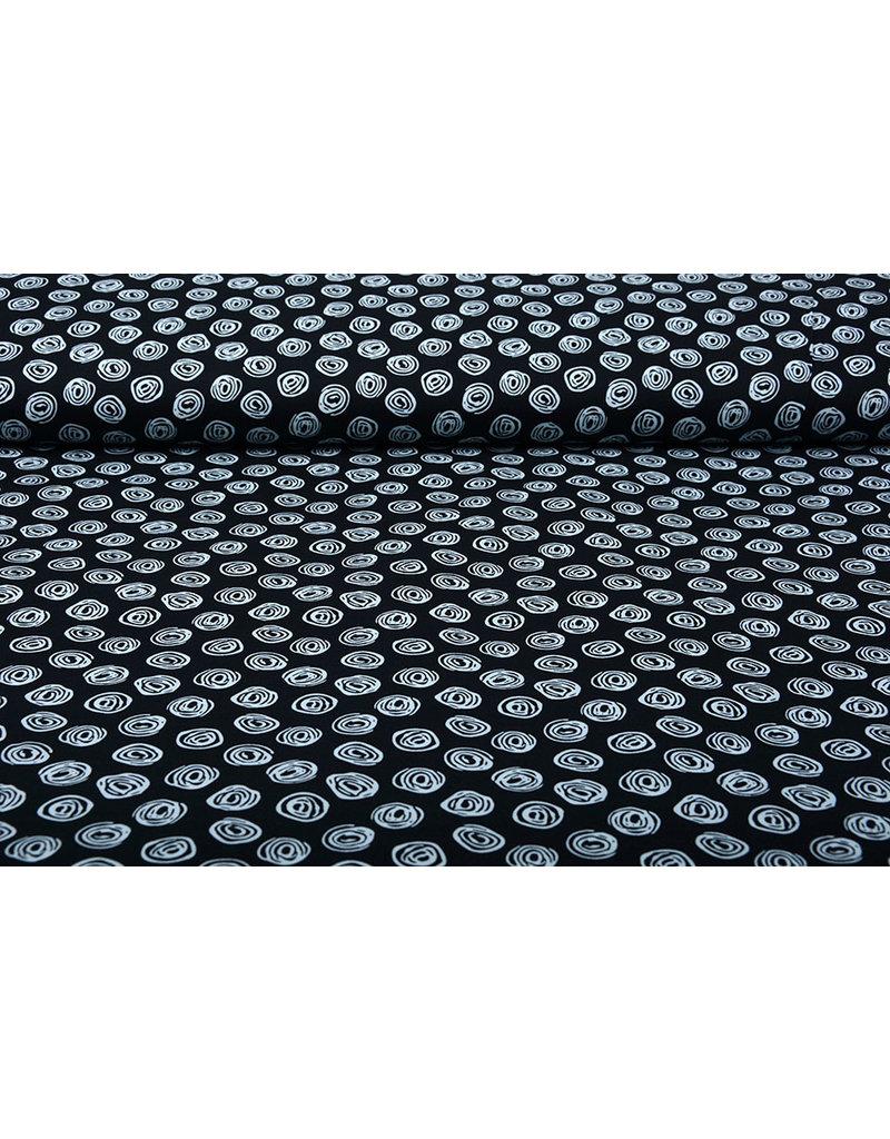 Stenzo 100% Digital Baumwolle Circle Swirl Schwarz