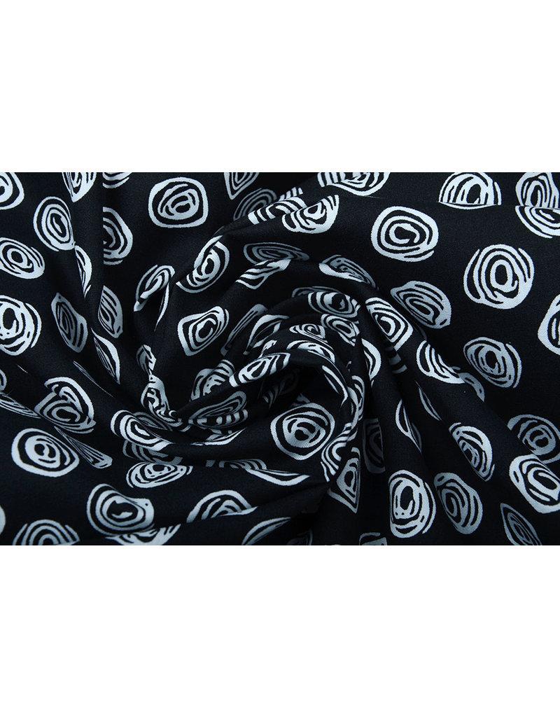 Stenzo 100% Digitaal Katoen Circle Swirl Zwart