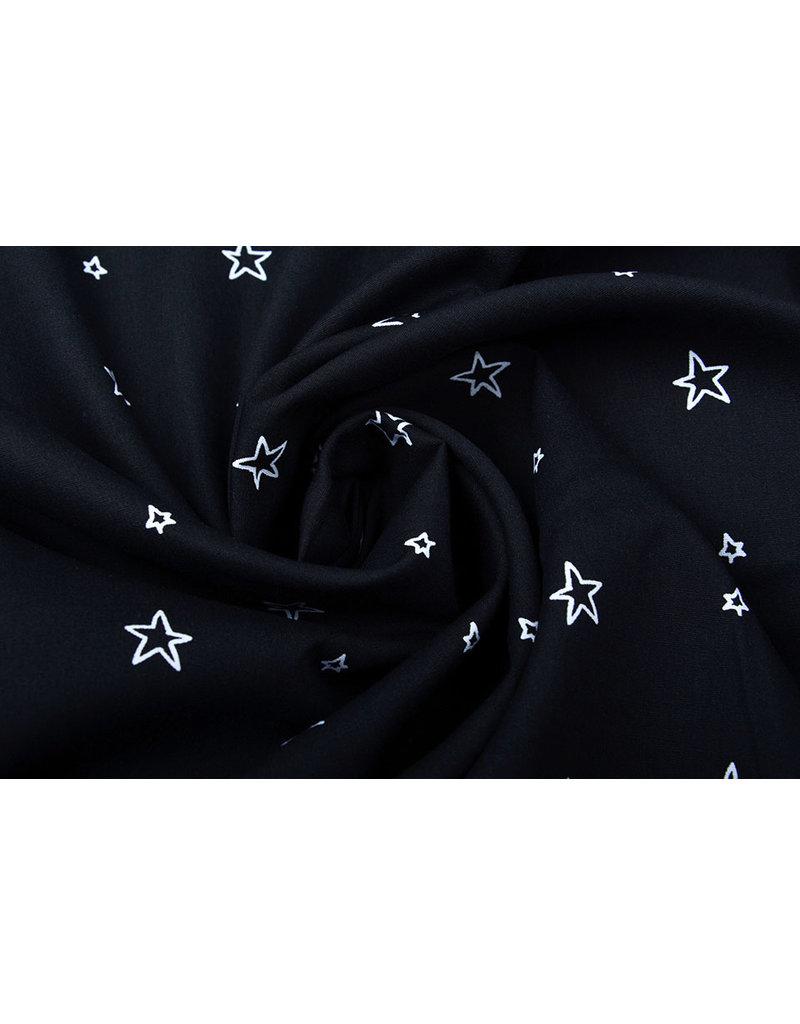 Stenzo 100% Digital Baumwolle Kleine Sterne Schwarz